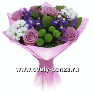 Букет №142 ирисы, розы, хризантемы