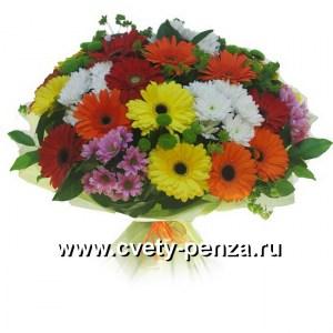 Букет №133 хризантема - 0шт, гербера 05шт