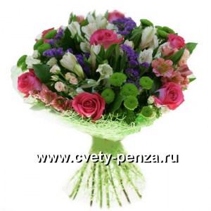 Букет №123 хризантема, роза, альстромерия, королева цветов кустовая