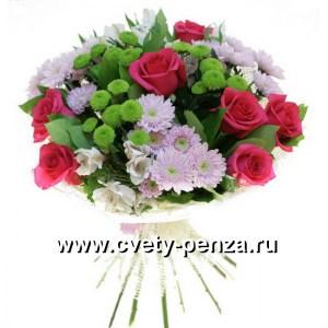 Букет №139 хризантема, роза, альстромерия