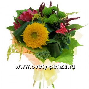 Букет №124 хризантема, гелиантус, альстромерия