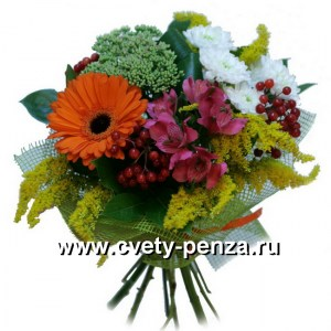Букет №126 хризантема, гербера, альстромерия, аспедистра