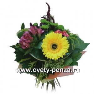 Букет №125 хризантема, гербера, альстромерия, седум, амарант