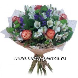 Букет №130 хризантема - 0шт, шиповник - 0шт, альстромерия - 0шт