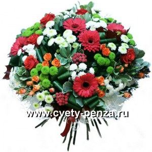 Букет №137 хризантема, роза, гербера, царица цветов кустовая, аспидистра, питтоспорум