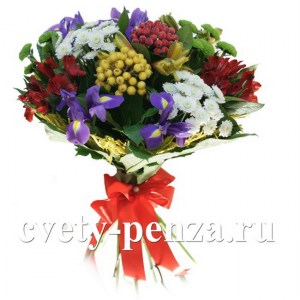 Букет №144 ирисы, хризантема, альстромерия, ягоды засахаренные