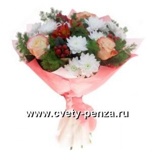 Букет №128 хризантема, роза, альстромерия.