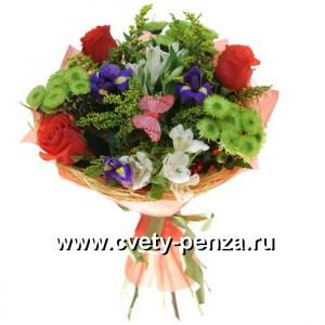 Букет №122 хризантема, роза, альстромерия, ирисы