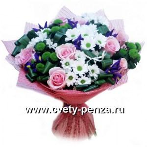 Букет №134 хризантема 0шт, розоцветный 0шт, ирисы 0шт