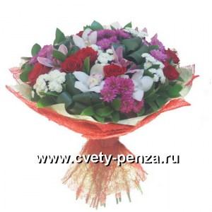 Букет №135 хризантема 00шт, розоцветный 0шт, орхидея 0шт, аспидистра